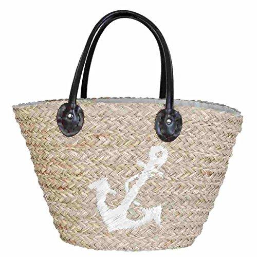 Clayre & Eef BAG305 Tasche Shopper Strandtasche Einkaufskorb Korb braun Anker ca. 58 x 19 x 27 cm