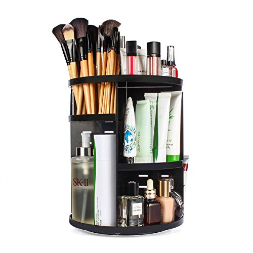 ELOKI 360 Rotating Makeup Organizer, DIY Detachable Spinning Makeup Holder Storage Bag Case Large Capacity Makeup Caddy Shelf Acrylic Cosmetics Organizer Box, Great for Countertop, (360 Black Gift Set)