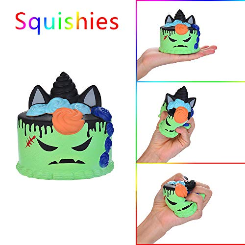 Kasien Slow Rising Toy, Halloween Demon Cake Scented Squishies Slow Rising Kids Toys Stress Relief Toy (Green)