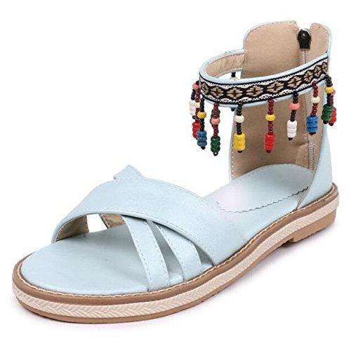 Pour Dames Gland Bohème Des Colorées Plates L'été Filles Femmes Les Perles Hope Blue Pendentif Sandales wnWTf7Wqx