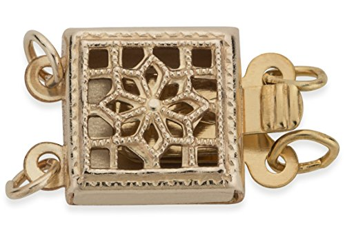 2 Pieces 14Kt Gold Filled 2 Strand Square Filigree Clasp 8X8 mm