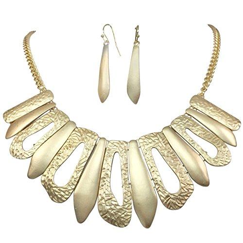 Designer Look Stick Flair Bib Chain Necklace Earring Set (Matte Gold Tone)