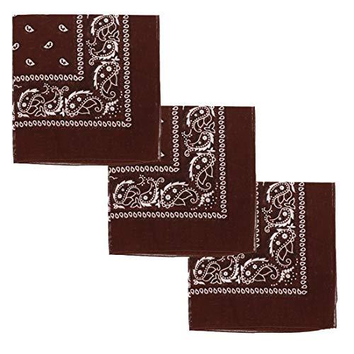 Set of 3 Large Cotton Paisley Bandanas - Brown]()