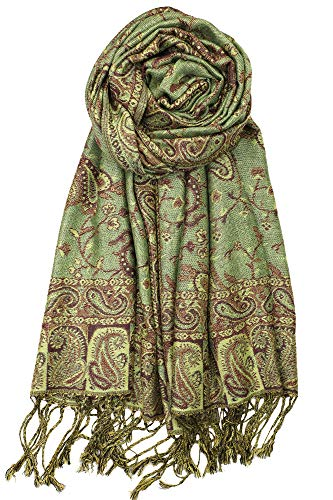 Floral Jacquard Scarf - Achillea Soft Silky Reversible Paisley Pashmina Shawl Wrap Scarf w/Fringes 80
