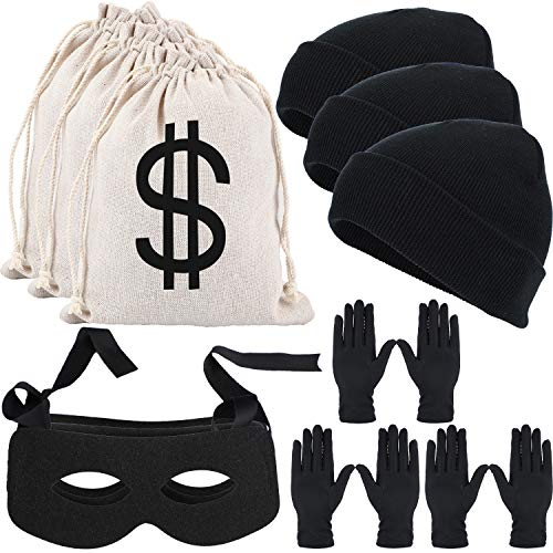 15 Dollar Halloween Costumes (15 Pieces Robber Costume Includes Dollar Sign Money Bags, Black Bandit Masks, Beanie Caps and Gloves for Halloween Burglar Cosplay)