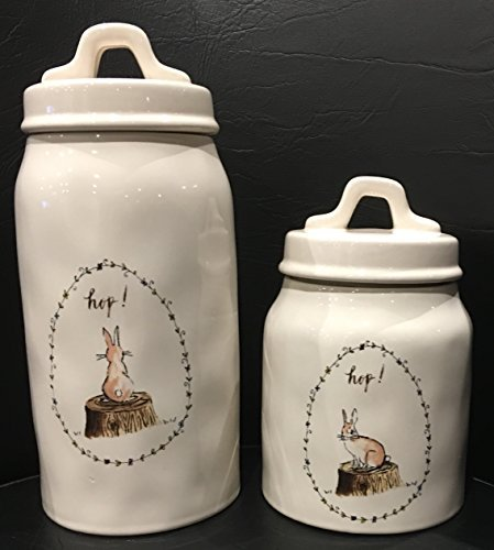 Rae Dunn Artisan Collection Canister Set of 2 HOP with Image of Bunny Rabbit on a Log ( 4.5'' Diameter x 5'' Tall) (4.5 '' Diameter X 8'' Tall) Easter [Dishwasher Safe] by Magenta