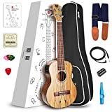 "Vangoa - UK-23SME Concert 23"" inches Splated Maple Acoustic Electric Ukulele 3 Band EQ with Nylon Strap, Pick, Pick Container, Carry Bag, Tuner, KAZOO, Backup Strings, Finger shaker"