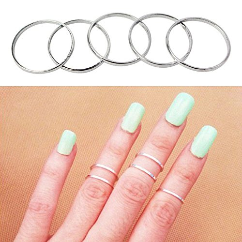 7pcs Simple Gold-Tone Shiny Cute Gothic Punk Stack Plain Above Knuckle Midi Finger Band Rings Joint Mid Ring Set Tip Stacking Rings (Silver)