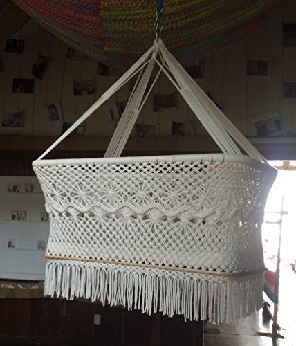 Baby Cradle, Baby Bassinet, Hanging Bassinet, Hanging Cradle, Hanging Crib 100% Handmade Round Crib Natural Cotton Portable Cradle Swing (Off-White)