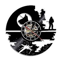 Dende Star Wars Vinyl Record Wall Clock - 12 Inch Silent Comics Quartz Wall Clock - Movie Characters Non-ticking Digital Clocks for Kids, Home Decoration (Star Wars)