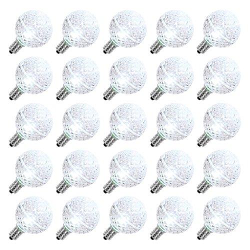 Vickerman 25811 - G40 Candelabra Screw Base Cool White LED Faceted (25 pack) Christmas Light Bulbs (XLEDG45)