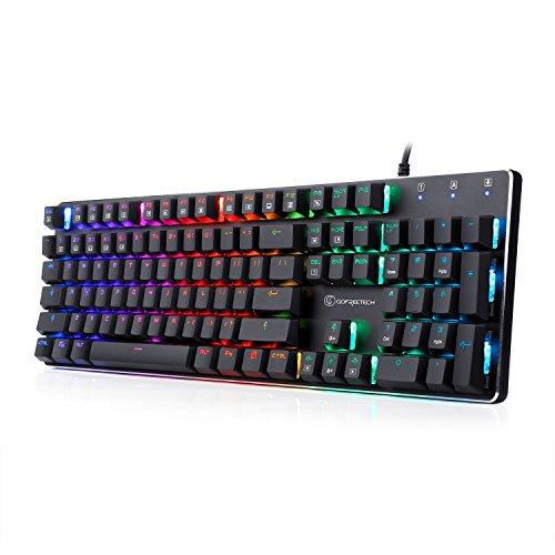 메카니칼식 키보드 유선 RGB gaming 키보드 104키 운 스위치 LED백 라이트 모드 오피스/gaming용-GOFREETECH