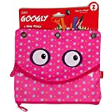 Googly 3 Ring Binder Double Pouch Pencils and Pen Case - Pink by ZIPIT