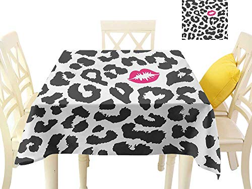 familytaste Vintage tablecloths Safari,Leopard Cheetah Animal Print with Kiss Shape Lipstick Mark Dotted Trend Art,Charcoal Grey Pink Modern Dining Table Cover W 60