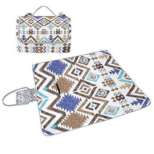 coosun Hand Drawn Tribal Muster Picknick Decke Tote Handlich Matte Mehltau resistent und wasserfest Camping Matte für Picknicks, Strände, Wandern, Reisen, Rving und Ausflüge
