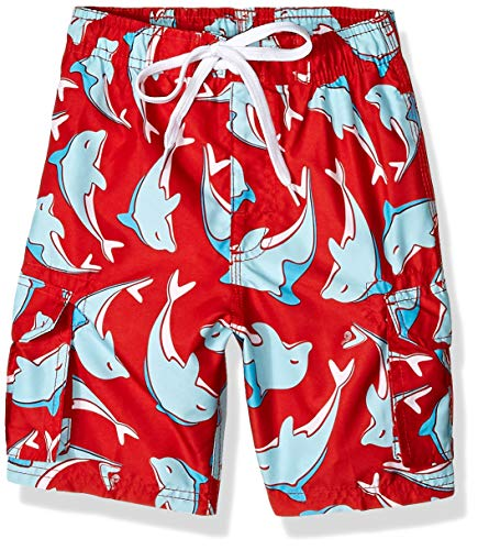 Kanu Surf Little Boys' Troy Quick Dry Beach Swim Trunk, Dolphin Red, Large (7)