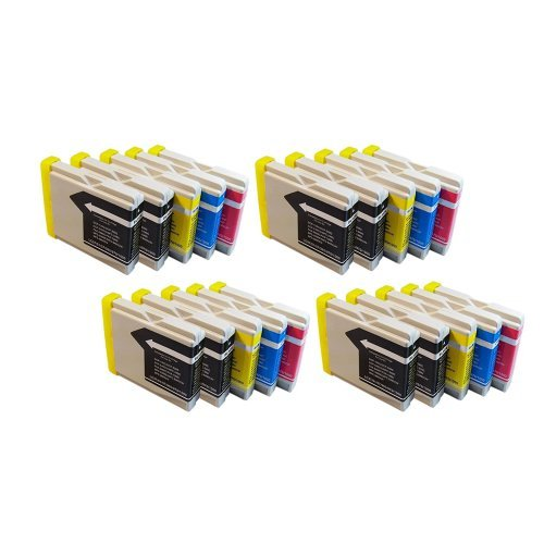 Inkcool 20pack New Compatible Ink Cartridge LC10 / LC37 / LC51 / LC57 / LC960 / LC970 / LC1000 for Brother Printer (8BK/4C/4Y/4M)