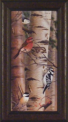 Unannounced Visitors I by Cynthie Fisher 14x25 Cardinal Chickadees Red Headed Woodpecker Birds Framed Art Print Picture