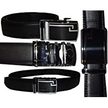 New Men's Black Leather Dress Belt w/ Auto Lock Sliding Buckle, Belt Strap #6504