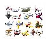 Lunarable Boy's Room Tapestry King Size, Digital Representation of Aero Vehicles Aircrafts Commercial Planes Pattern, Wall Hanging Bedspread Bed Cover Wall Decor, 104 W X 88 L Inches, Multicolor