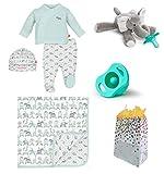 """Elephant Safari"" Baby Boy 6 Item Baby Shower Gift Set"