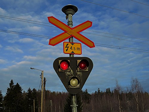 (Home Comforts Peel-n-Stick Poster of Grade Crossing Red Road Sign Light Poster 24x16 Adhesive Sticker Poster Print)