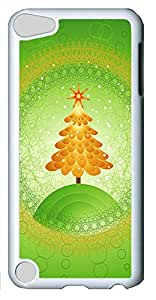 iPod Touch 5 Case,iPod Touch 5 Cases - Green Christmas Tree PC Polycarbonate Hard Case Back Cover for iPod Touch 5¨CWhite