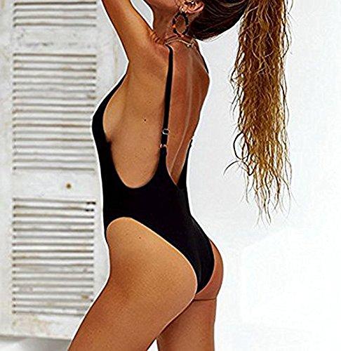 XL Costume bagno bagno AUSTAR scollo Costume con da da Backless Nero con S Costume bagno costume da a One Piece V bagno Halter da Swimwear Monokini Halter wOxwqP4B