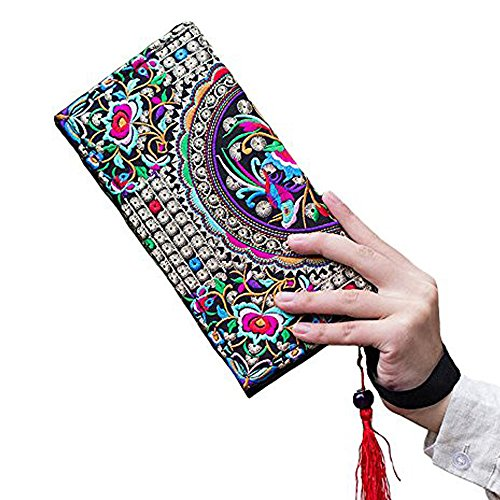 Clutch Embroidery Bags Day Boho Long Wallet Canvas Coins Women Purse Phone 7HPIxx