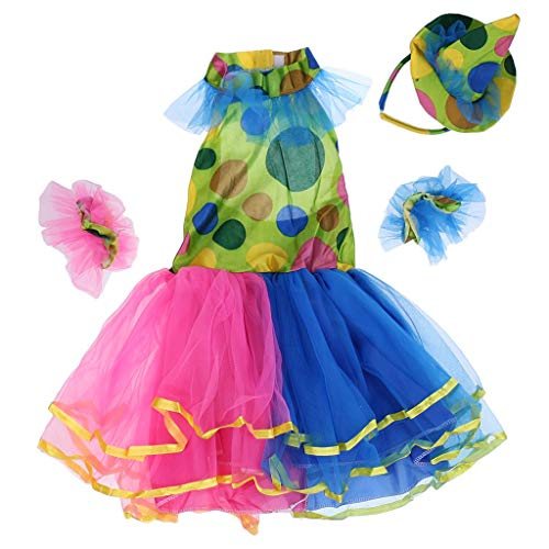 Girls Circus Clown Dress Halloween Party Clown Fancy Dress Circus Costume Rainbow Tutu Dress - Colorful, XL