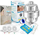 HomeRium 10-Stage Shower Filter (Chrome) | 3 Replacement Cartridge With Teflon Tape and 2 Seal | Water Softener For All Shower Head | Shower Filters For Hard Water, Nickel, Rust, Fluoride, Chlorine