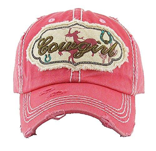KB Jp Adjustable Cowgirl Roper Bronc Horseshoe Cactus Patch Vintage Distress Cap Hat (Pink) from KB