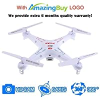 Amazingbuy - Syma X5C-1 2.4Ghz 6-Axis Gyro RC Quadcopter Drone UAV RTF UFO with HD Camera - New Updated Upgraded Version X5C-1 Smaller Packing Orginal Box - 4 additional Propellers + 4GB Memory Card + Card Reader + 2 Batteries + Tracking Number