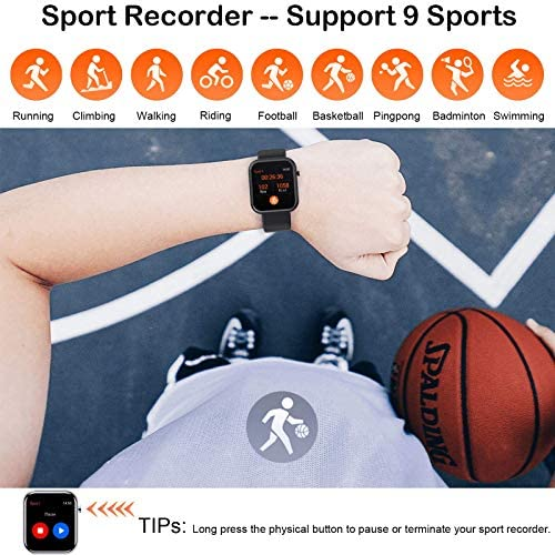 """Smart Watch Fitness Tracker with Blood Pressure Monitor Heart Rate Monitor for Android Phones iPhone Compatible, 1.54"""" IP67 Waterproof Activity Tracker for Women Men Sleep Monitor Medical Alarm 5"""