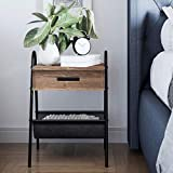 Nathan James 32501 Hugo Night Stand Accent Rustic Oak Wood Table with Drawer, Matte Black Metal Frame, Leather Hammock, Side