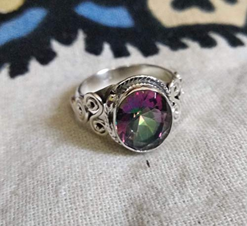 Genuine Rainbow Fire Mystic Topaz Ring Solid 925 Sterling Silver