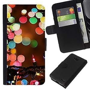 KLONGSHOP // Tirón de la caja Cartera de cuero con ranuras para tarjetas - Navidad borrosa Noche de Invierno - LG OPTIMUS L90 //