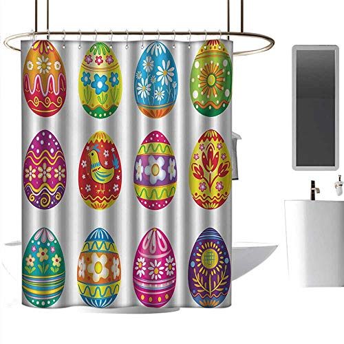 homehot Shower Curtains White Yellow Easter,Colorful Easter Eggs with Flowers Stripes and Hen Design Ornate Cartoon Illustration,Multicolor,W72 x L72,Shower Curtain for Men]()