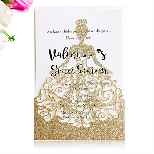 PONATIA 25PCS Laser Cut Crown Gold Glitter Wedding Invitations Cards for Birthday Sweet 15 Quinceañera Party Invite, Wedding Bridal Engagement Invite (Gold Glitter)