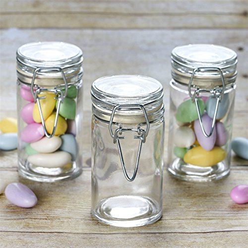 BalsaCircle 12 pcs 4 oz. Clear Round Glass Jars Favor Holders - Wedding Party Candy Gift Packaging Decorations Supplies