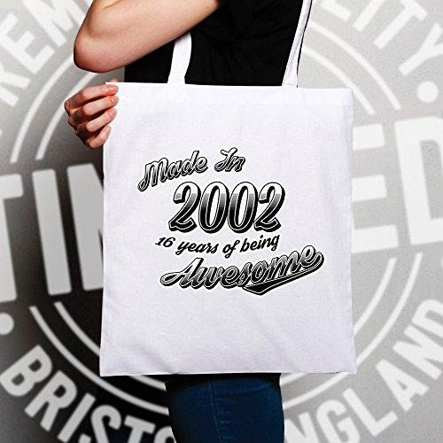 16th Awesome White Birthday Being 2002 Made 16 Years Shopping Bag RrxwqzdR8