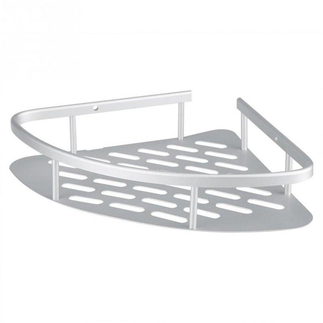 Aluminum Bathroom Shelf Durable/2 Tiers Shower Shelf Kitchen Storage Basket Adhesive Suction Corner Shelves White by YU-Bathroom (Image #1)