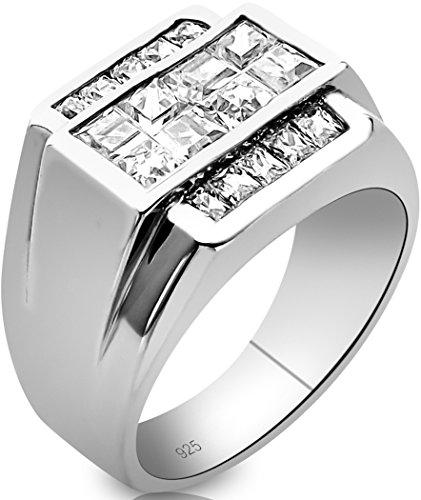Channel Set Cubic Zirconia Stone (Men's Sterling Silver .925 Ring Invisible and Channel Set Cubic Zirconia Stones, Platinum)