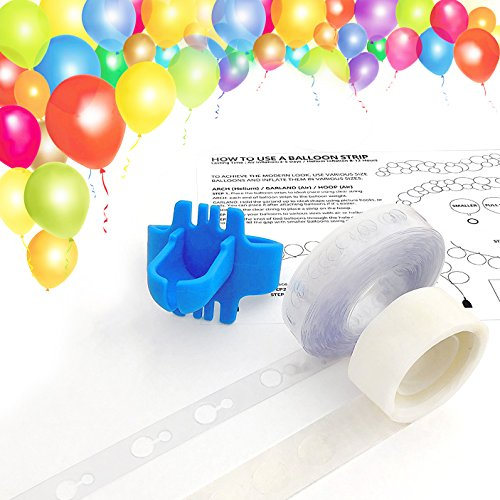 (Keklle Balloon Arch Garland Decorating Strip Kit, Reusable Balloon Tape Strip 16ft, Tying Tool, Dot Glue, Super Easy to Make Balloon Arch Garland (3))