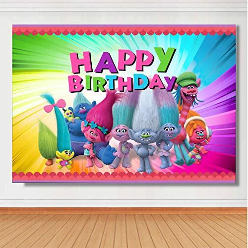 TJ Trolls Poppy Animation Movies Background Happy Birthday Theme Party Photography Backdrops Baby Shower Colorful Decor Banner Photo Booth Studio Props Vinyl 5x3ft ()