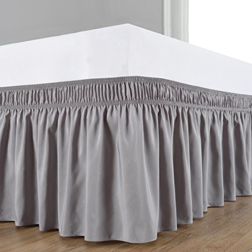 Biscaynebay Wrap Around Bed Skirt, Elastic Dust Ruffle Easy Fit Wrinkle and Fade Resistant Solid Color Hotel Quality Fabric, Queen, Silver Grey