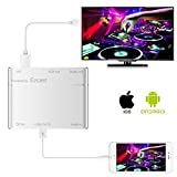 Lexsong Lightning to HDMI Adapter, USB to HDMI 1080P HDTV + VGA Adapter Plug & Play for IOS and Android(silver)