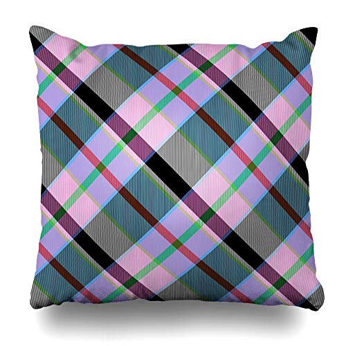 "Ahawoso Throw Pillow Cover Pillowcase Plaid Backcloth Abstract Red Pink Turquoise Gray Checked Crossover Able Band Black Checkered Chequed Home Decor Design Square Size 18""x18"" Zippered Cushion Case"