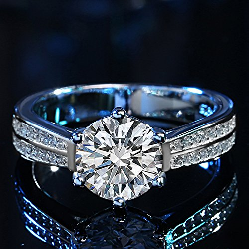 Bellystar Women Wedding Real Solid 925 Sterling Silver Jewelry Gift 8Mm 2 Carat CZ Diamant Ring