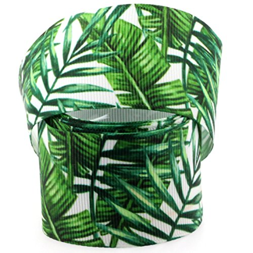 Midi Ribbon Spring Favor Green Leaf Flower Single Face Printed Grosgrain Ribbon 7/8